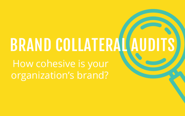 "Text in white ""Brand collateral audits, How cohesive is your organization's brand written across the icon of a magnifying glass with an aquamarine colour. Background color yellow."